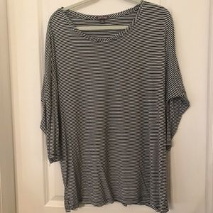 3/4 Sleeve Blue and White Striped Top 1X